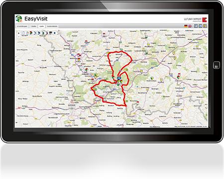 EasyVisit-Besuchsplanung-Tourenplanung-Karte
