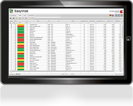 EasyVisit-Besuchsplanung-Tourenplanung-Tabelle
