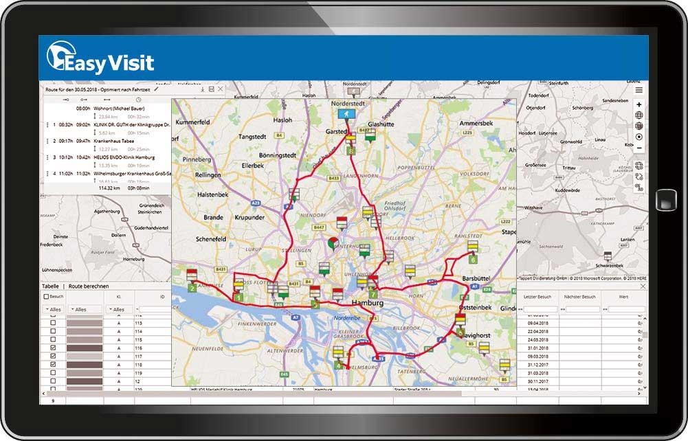 EasyVisit-Tourenplanung Routenkarte